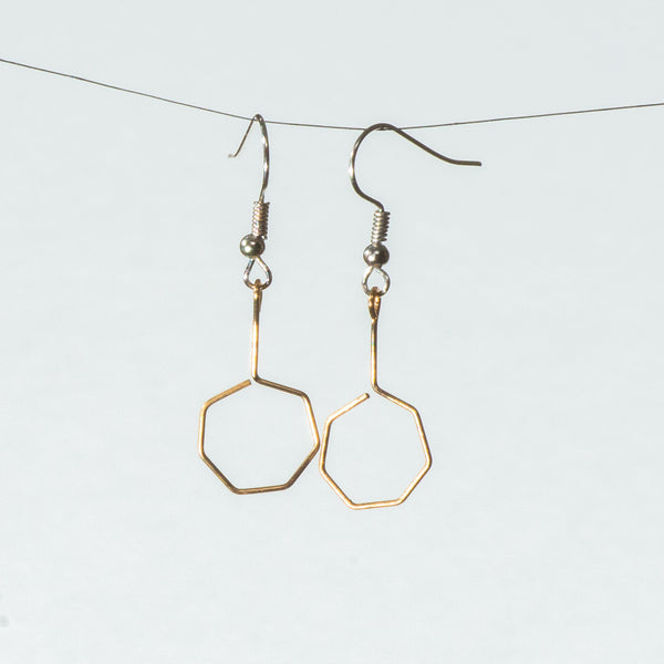 Short Gold-Tone Drop Hexagons with Silver Hook Earrings