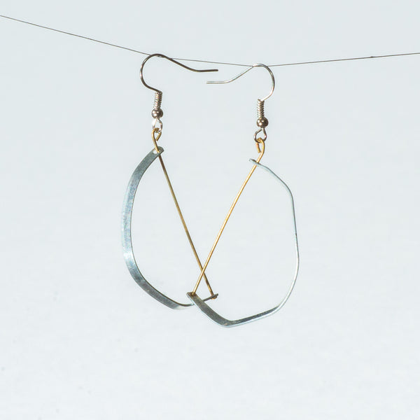 Two-Toned Vintage Toy and Wire Dangle Earrings