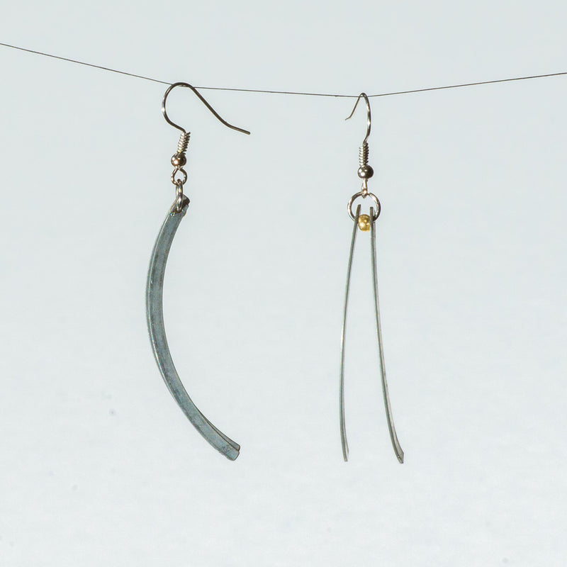 Double Slinky Drop Earrings with Glass Beads