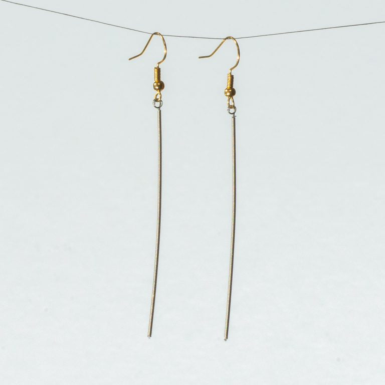 Single Guitar String Straight Dangle Earrings