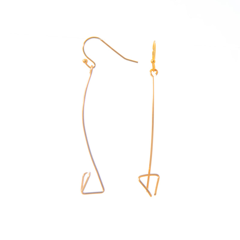 Pyramid Brass Wire Arc Earrings
