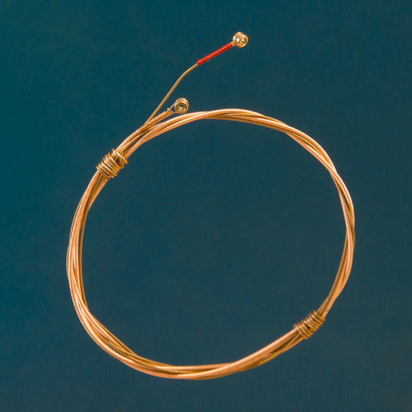 Two-Strand Guitar String Bracelet with Brass Wrap and Ferrules