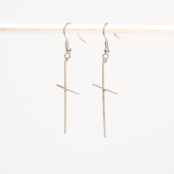 Cross-shaped Guitar String Earrings