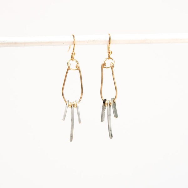 Drop Earrings with Glass Beads and Vintage Toy Parts