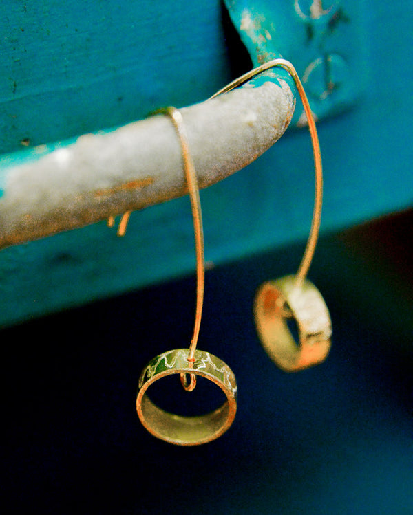 Brass Circles Dangle Earrings
