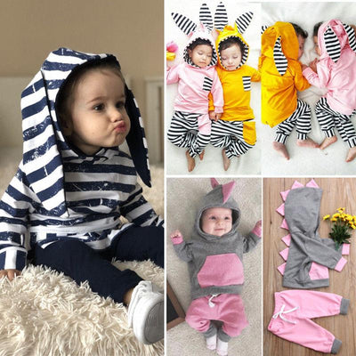 Stripe Hooded Bunny Ears Outfit