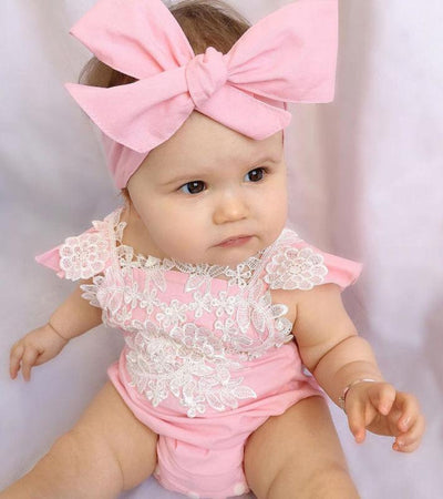 Pink Lace Romper with Bow
