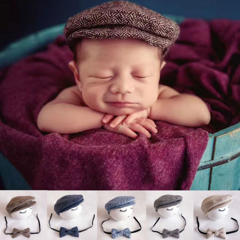 Newborn Hat +Bow Tie Set