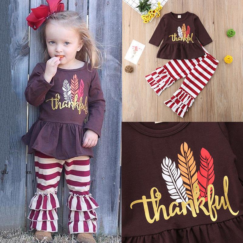 Thanksgiving Long Sleeve + Stripe Pants Set