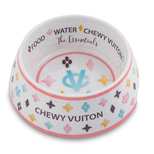 Haute Diggity Dog White Chewy Vuiton Dog Bowl - Hero Pet Supplies