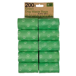 10 Pack 200 Green Waste Bags-Hero Pet Supplies