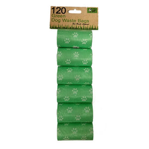 6 Pack 120 Green Waste Bags-Hero Pet Supplies