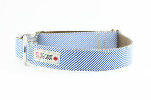 Silly Buddy Blue Pinstripe Collar - Hero Pet Supplies