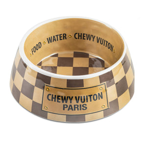 Haute Diggity Dog Checker Chewy Vuiton Bowl - Hero Pet Supplies