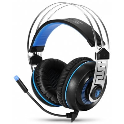 SADES A7 USB Gaming Headset 7.1 Surround sound Professional Stereo Gaming Headphone Led Lighting Headsets with Microphone Vibration for Laptop PC