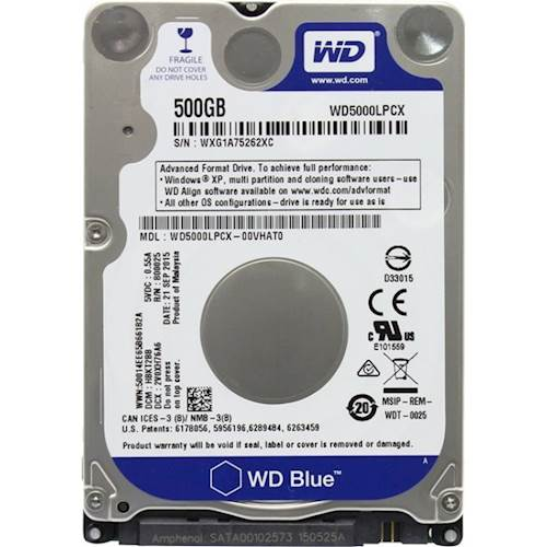 WD Blue 500GB Mobile 7.00mm Hard Disk Drive - 5400 RPM SATA 6Gb/s 16MB Cache 2.5 Inch - WD5000LPCX