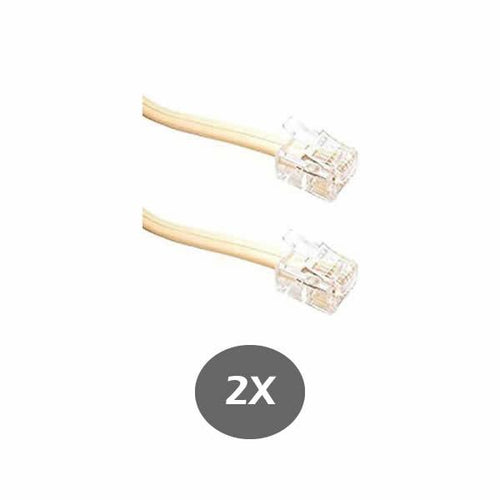 Ivory Telephone Line Cord 6 Inch (152MM) - for RCA, Panasonic, AT&T, VTECH and many more - RJ11 6P4C 2 Pack