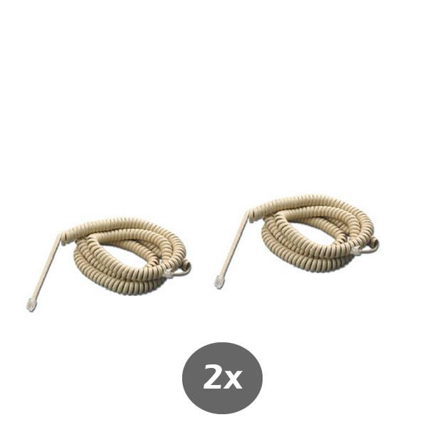 Ivory Telephone Handset Cord 20 Feet - Compatible Phones Include RCA, Panasonic, AT&T, VTECH - RJ9 4P4C 2 Pack