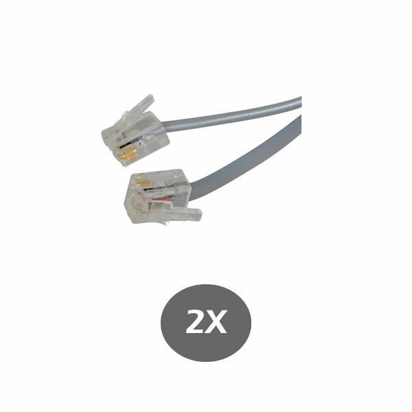 Gray Telephone Line Cord 9 Inch (229MM) - for RCA, Panasonic, AT&T, VTECH and many more - RJ11 6P4C 2 Pack