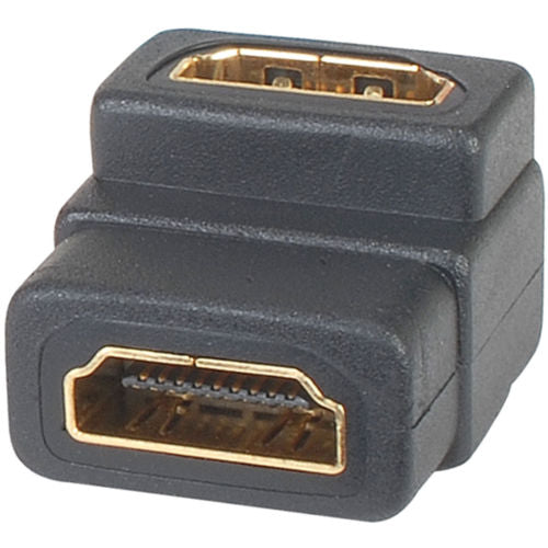 Black HDMI A to HDMI A Right Angle Coupler - Connector