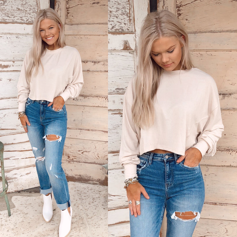 Taupe Ribbed Cropped Top