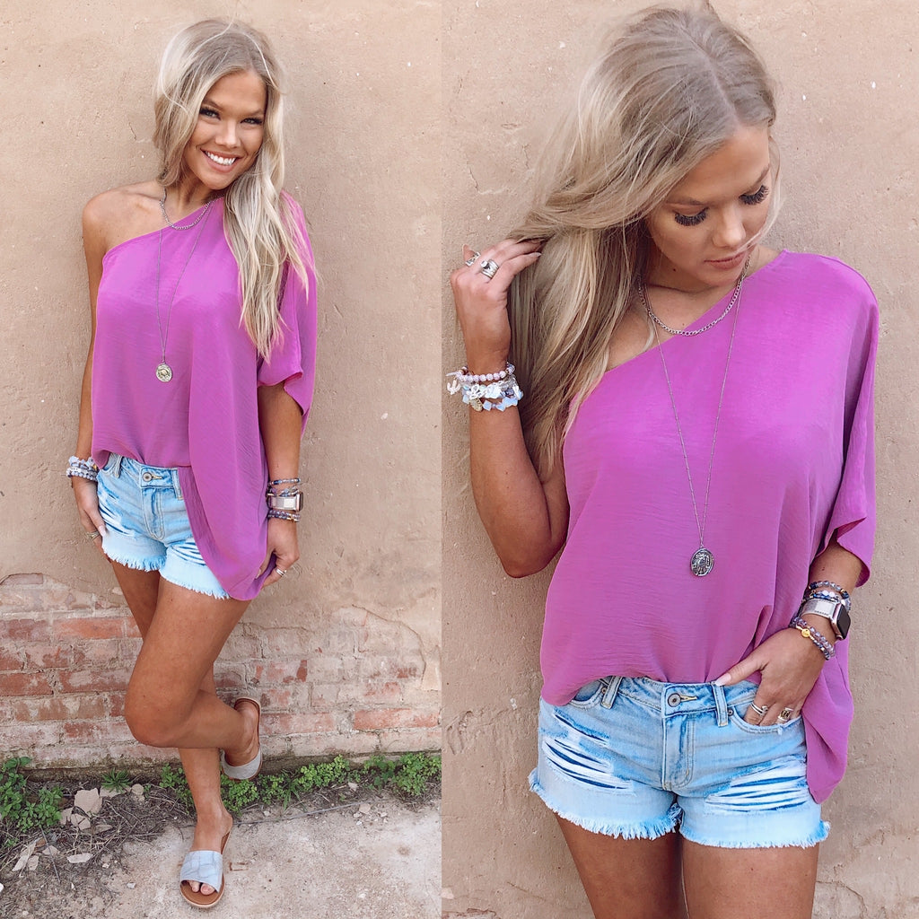 Brielle One Shoulder Orchid Top