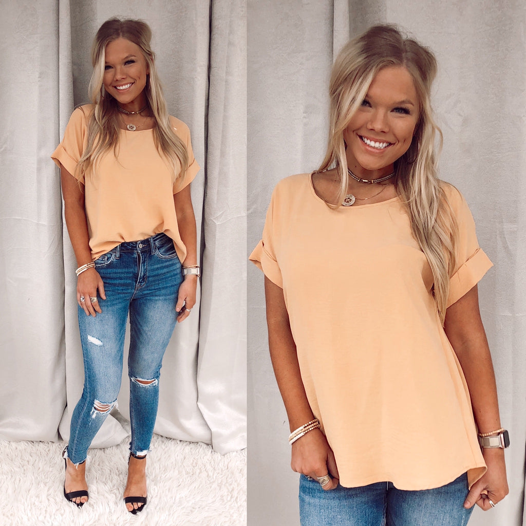 Cassie Cuffed Short Sleeve - Straw