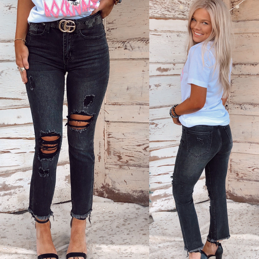 The Vixen Distressed Straight Jeans - Black