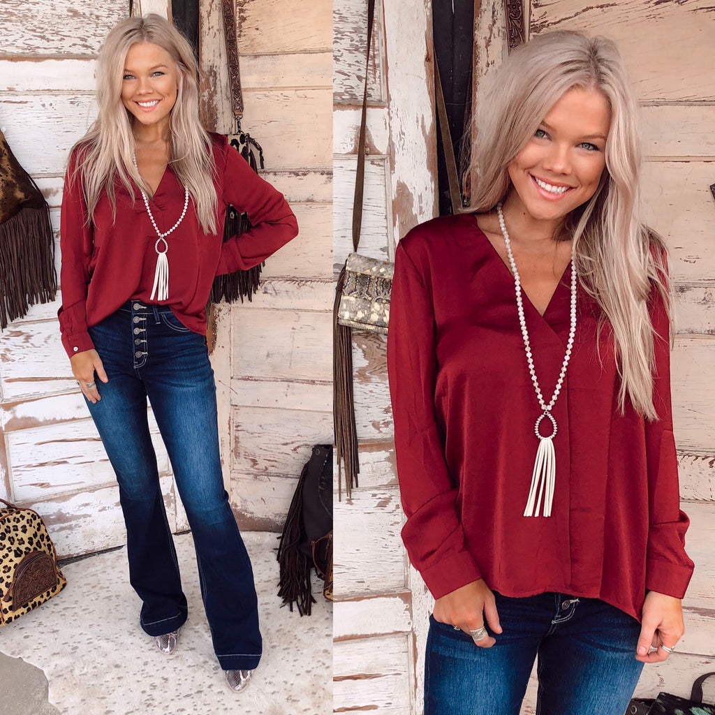 Wine Split V-Neck Top