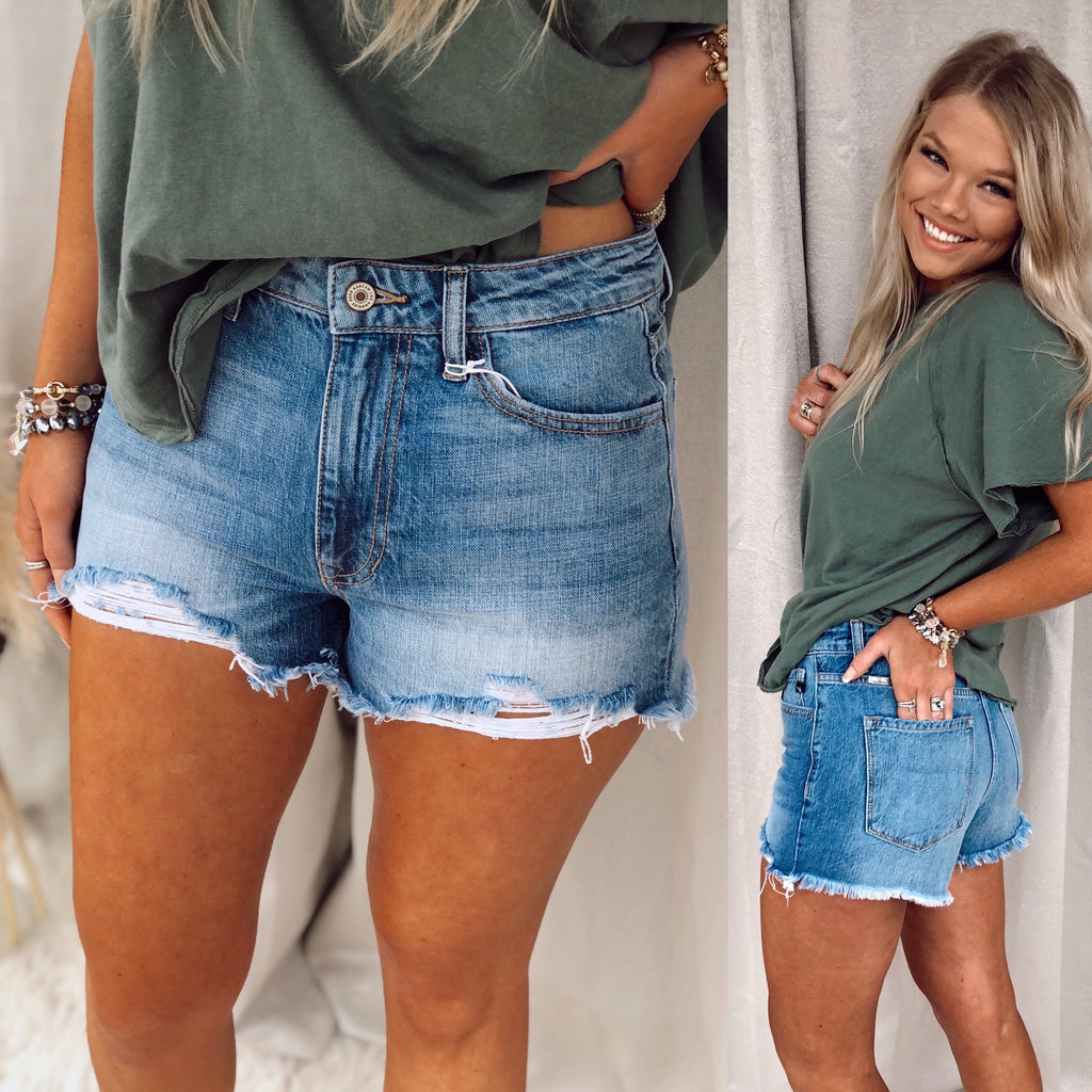 Jolie Frayed Distressed Shorts