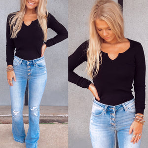 Black Fitted Ribbed V-neck Top