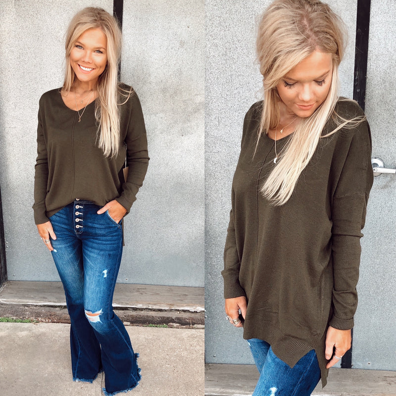 The Tracy Knit Tunic - Olive