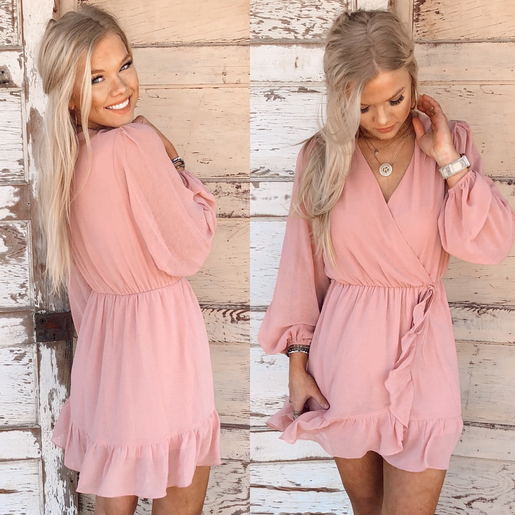 All The Frills Rose Wrap Dress