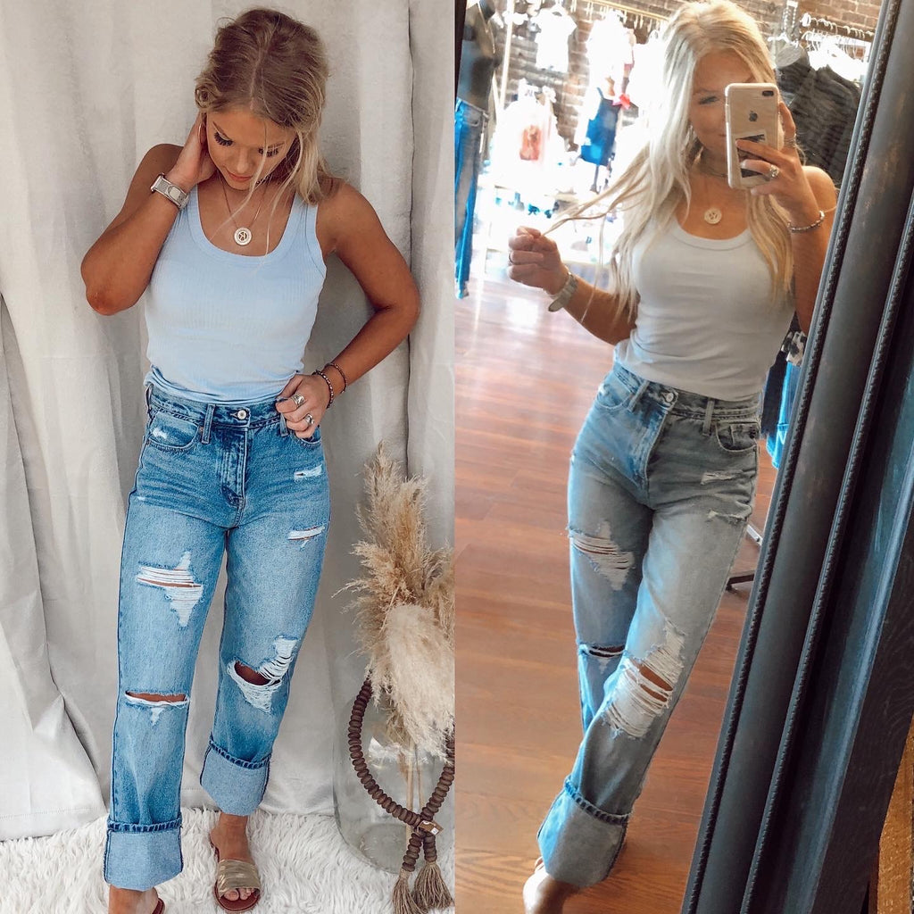Gina High Rise Distressed Jeans