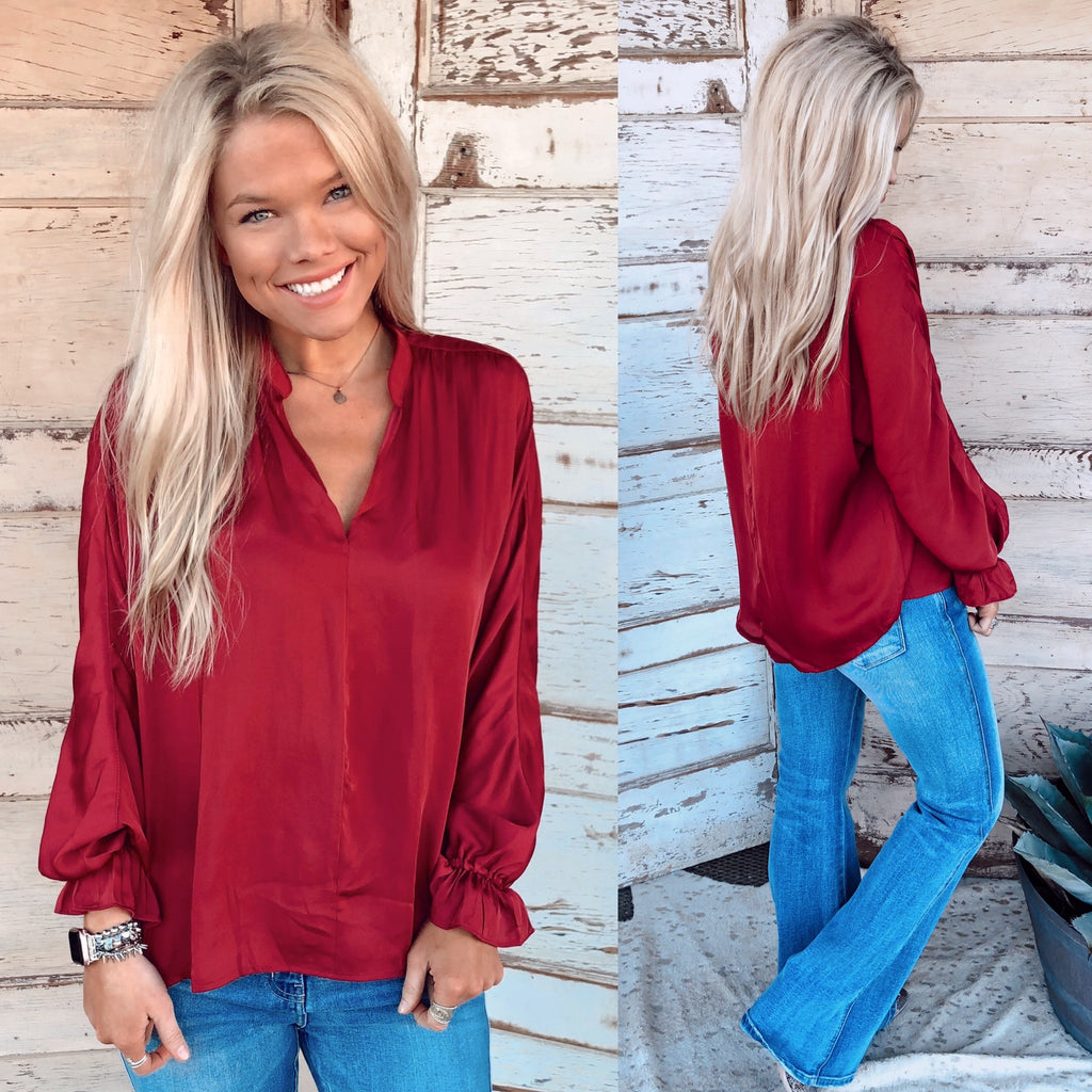 Windsor Burgundy V-Neck Top
