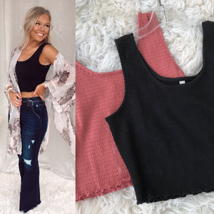 Smocked Cropped Tank Top - Black