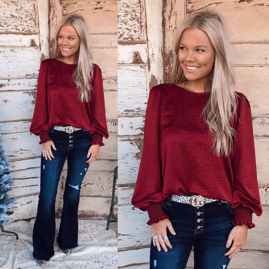 Surely Chic Basic Blouse - Burgundy