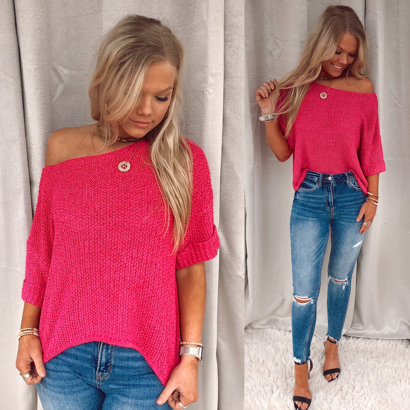Blooming In Fuchsia Knit Blouse