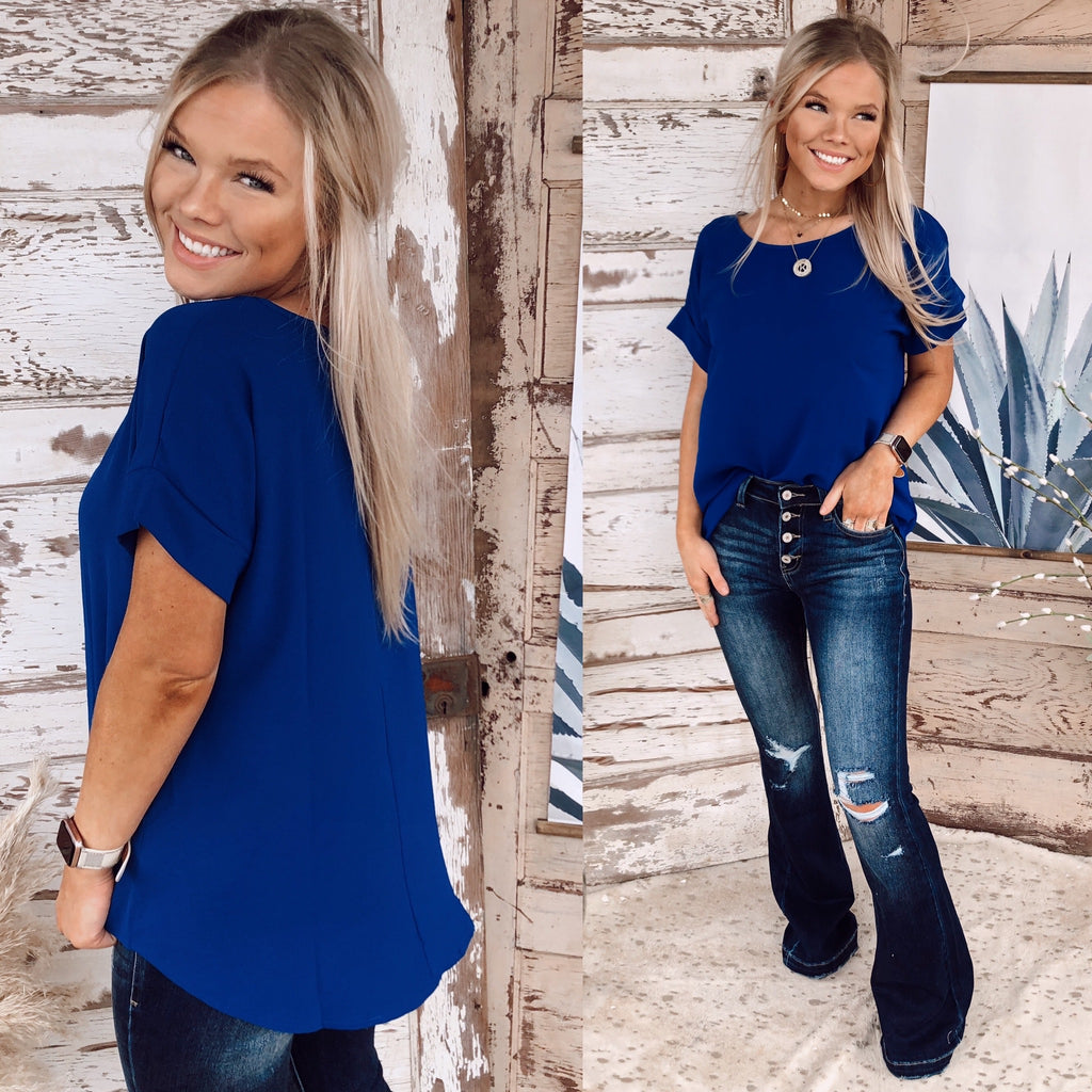 Cassie Cuffed Short Sleeve - Royal