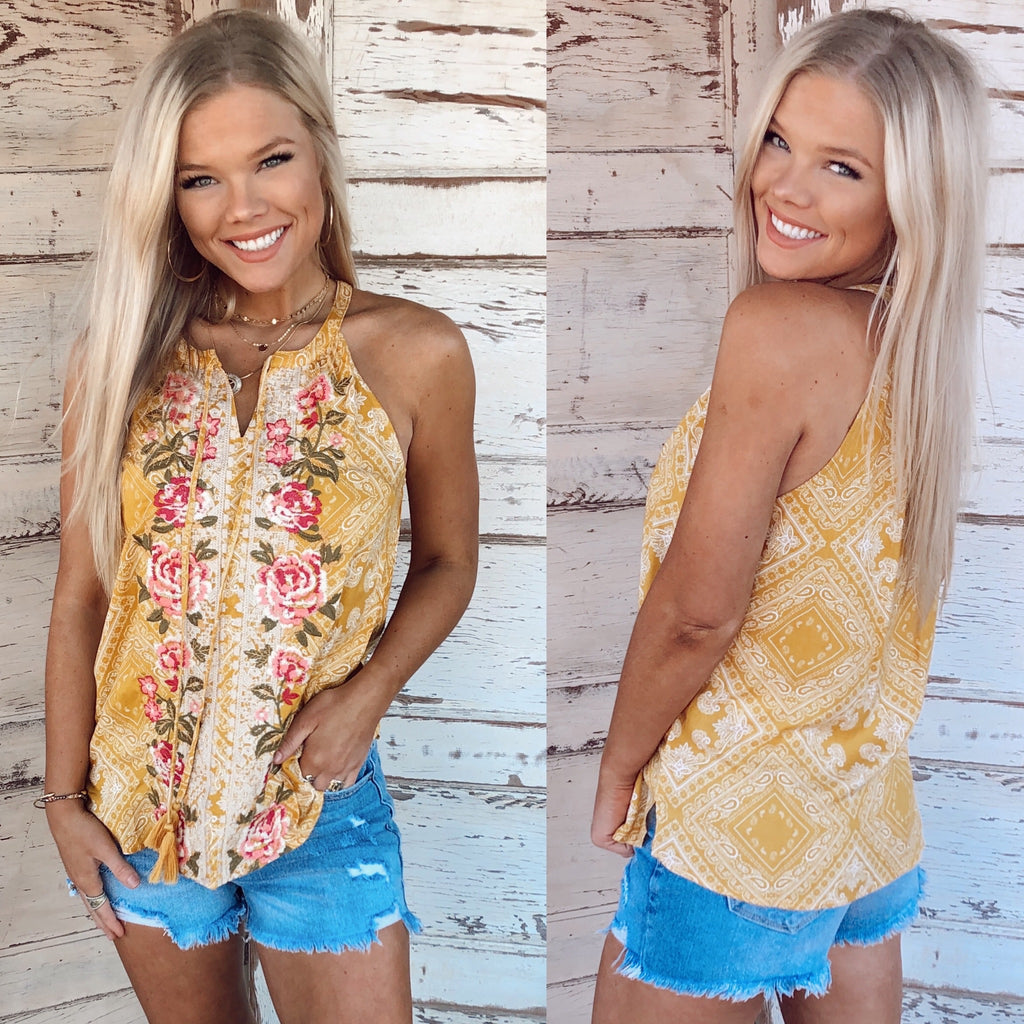 Yellow Rose Embroidered Top