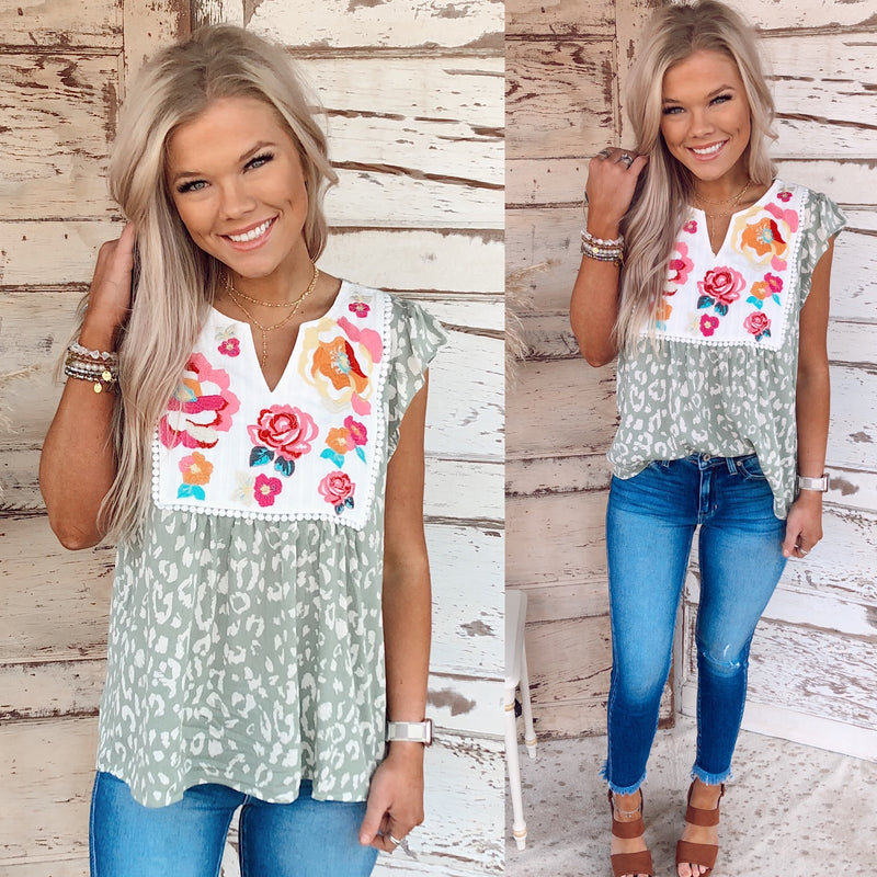 Savannah Embroidered Blouse - Sage