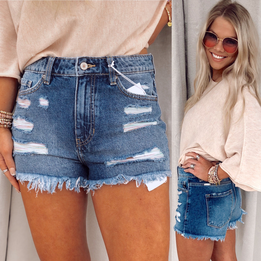 Lizzie Frayed Distressed Shorts