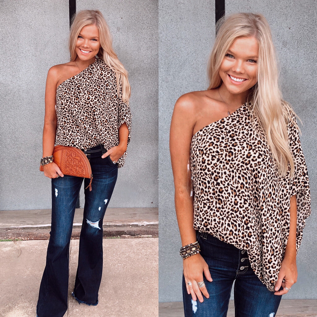 Liz One Shoulder Top - Leopard