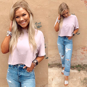 Basic Cropped Tee - Misty Pink