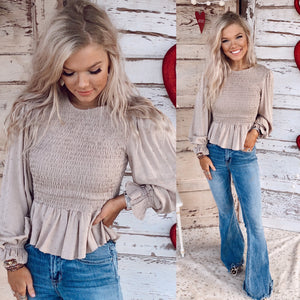Taupe Smocked Top