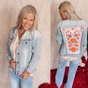 Melody Embroidered Denim Jacket