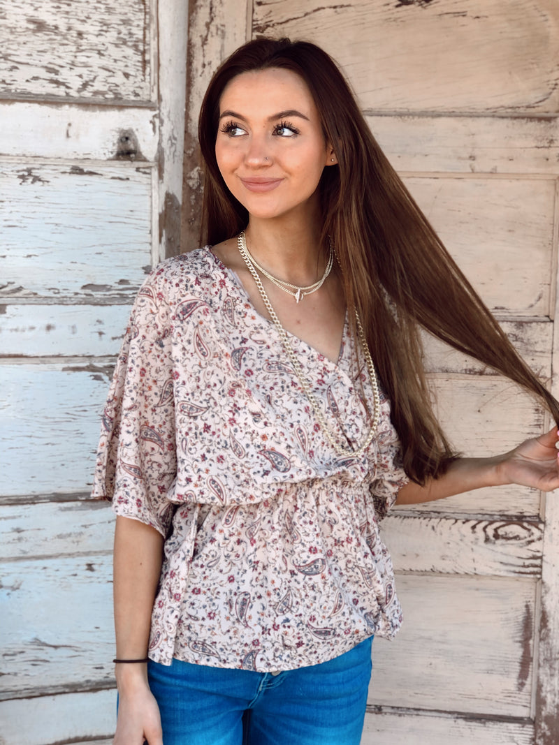 Blush Paisley Print Top