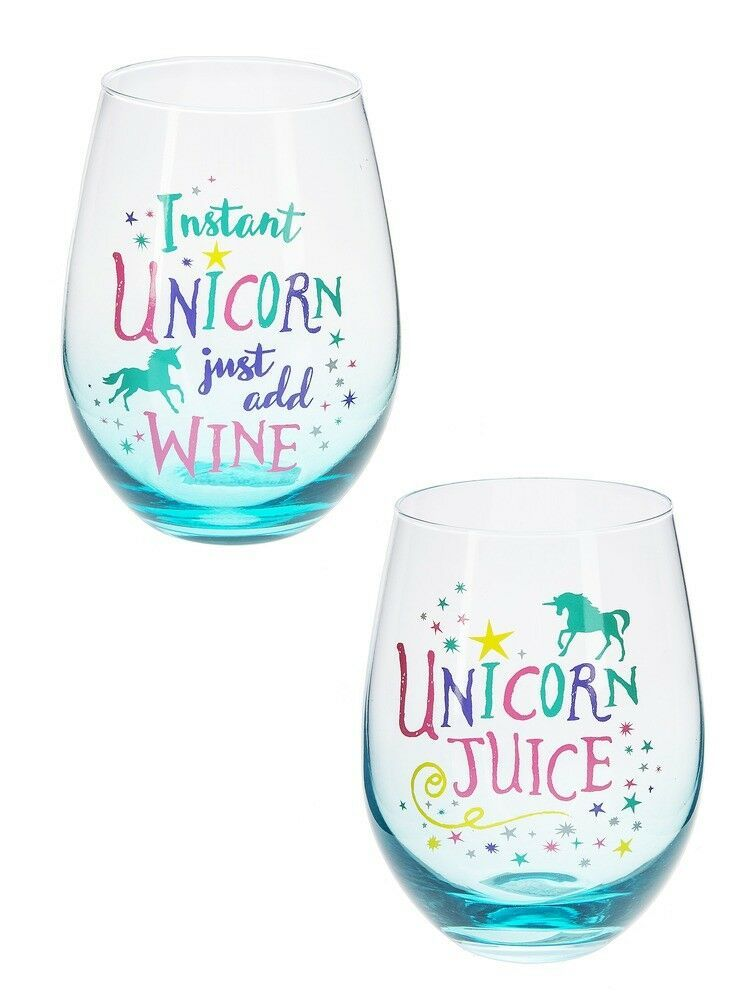 Assorted Unicorn Stemless Wine Glasses