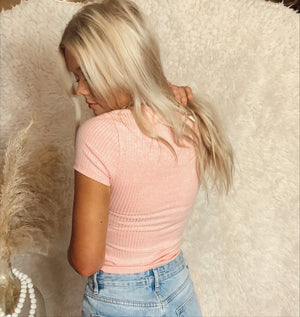 Pink Ribbed Peek-A-Boo Top