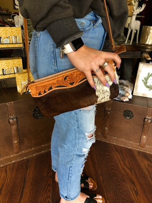 Cowhide Tooled Leather Crossbody
